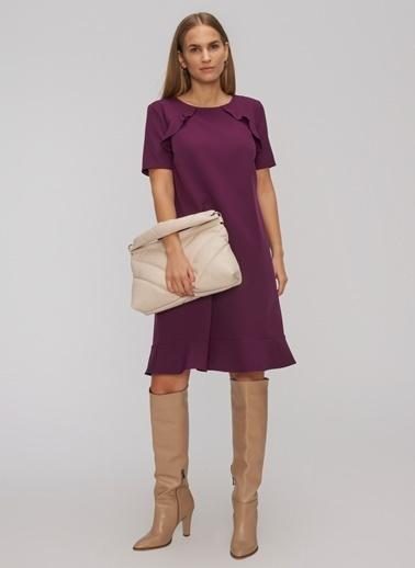 People By Fabrika Volan Detaylı Elbise Mor